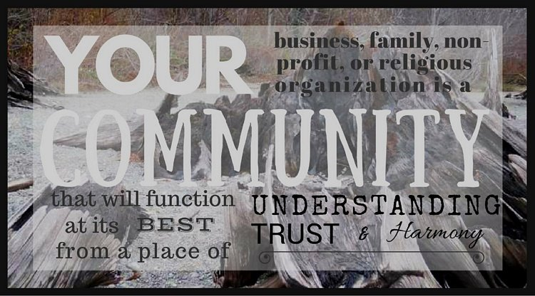 Your business, family, non-profit, or religious organization is a community that will function at its best from a place of understanding, trust and harmony